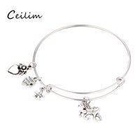 Hot selling silver color plated charm bracelets with love st...
