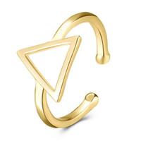 أزياء الشرير نمط المرأة قابل للتعديل KC مطلية بالذهب والنحاس المفتوح سهل الهندسة مثلث الدائري شحن مجاني