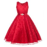 Fleur dentelle fille robe de princesse Kid Parti Pageant robes de demoiselle d'honneur A