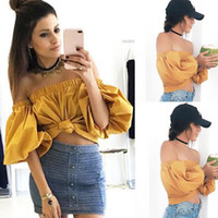 2017 Fashion Summer Women Blouse shirts Sexy Off Shoulder Pu...