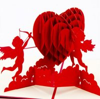 3Dポップアップ結婚式の招待状はがきギフトカードレーザーカットハート空白のヴィンテージの招待状結婚愛の文字メッセージ