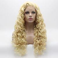 Iwona Cheveux Bouclés Longue Perruque Blonde Légère 18 # 613 Moitié Attelé À La Main Résistant À La Chaleur Synthétique Perruque En Dentelle Avant