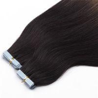 도매 20''100 % 인간의 머리 PU EMY 테이프 스킨 헤어 익스텐션 2.5g / 조각, 색상 33 # 40pcs 100Gr 스트레이트 헤어