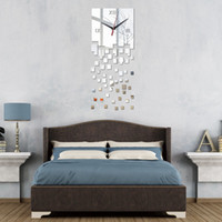 Wholesale Promotion Modern Wall Clocks Mirror Design Real Diy Watch 3D Crystal Clock Sticker Living Room Decor Gratis frakt