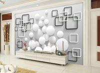 العرف أي حجم الحديث جدار خلفية الحد الأدنى مربع الكرة جدارية 3D ورق الجدران ورق الجدران 3D للتلفزيون خلفية