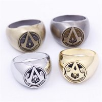 Assassins Creed Symbol Rings 4 Colori Gioielli lega Assassin Creed Fashion Anelli per uomo all'ingrosso