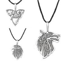 Wholesale-Odin Raven Norse Wolf Pendant Viking Jewelry  Triquetra Fenrir Animal Teen Wolf Necklace Men Female Supernatural Amulet Knot