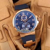 싼 새로운 맥시 해양 크로노 미터 제조 266-67-3 / 43 블루 다이얼 자동 망 시계 장미 골드 케이스 고무 스트랩 고품질 시계