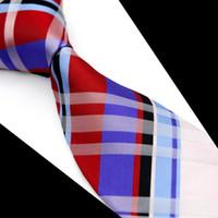 T091 남자 넥타이 넥타이 스코틀랜드 체크 무늬 레드 블루 화이트 멀티 컬러 100 % 실크 자카드 직물 브랜드의 새로운 캐주얼 비즈니스 정장 도매 체크