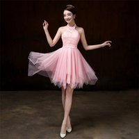 New Short Bridesmaid Dresses Women Halter Wedding Prom Party...
