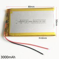 نموذج 605080 3.7 فولت 3000 مللي أمبير بطارية ليثيوم بوليمر يبو قابلة للشحن الوسادة الهاتف المحمول gps قوة البنك كاميرا الكتب الإلكترونية recoder tv box