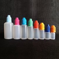 Tropfflasche 100PC / LOT 5ml, 10ml, 15ml, 20ml, 30ml, 50ml, Kindersichere Kappe PE-Material Weichplastikflasche E Liquid Bottle
