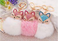 Chuzzle alaşım anahtarlık çapı yaklaşık 8 cm fox kafa tavşan saç kızlar çanta kolye araba yaratıcı kolye