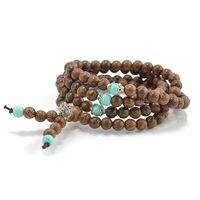 Commercio all'ingrosso-108 * 6mm sandalo buddista buddista di meditazione preghiera perline mala collana pulseras braccialetto gioielli per le donne gioielli da uomo
