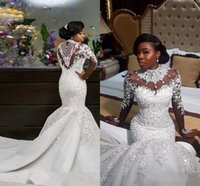 2017 New Luxury African Mermaid Wedding Dresses Long Sleeves...