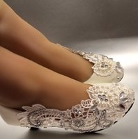 Hot Selling Asymmetry lace crystal Wedding shoes flat low hi...