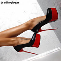 16cm Sexy stiletto wedding shoes red black women high heels ...