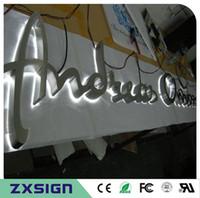 Factory Outlet Outdoor 304 # gebürstetem Spiegel aus poliertem Edelstahl zurück leuchtet LED Kanal Brief, Metall Brief beleuchtet Shop Front Name Zeichen