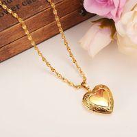 Valentino regalo cuore medaglione vuoto spazio pendente collana gioielli da donna 14k giallo fine oro gf riempito fantasia romantica
