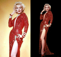 Marilyn Monroe Vintage Sparkly burgundy Wine Red Sequin Spli...