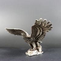 превосходный редкий старый Тибет серебряный резной изысканный величественный орел статуя фарфора ремесло