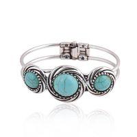 Brand new Popolare retro turchese imitazione Thai braccialetto d'argento braccialetto FB271 ordine della miscela 20 pezzi molto braccialetti di fascino