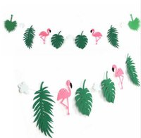 Flamingo And Cocunut Leaves Garland Beach Banner Summer Part...