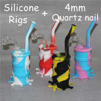 Venda quente Rig de Silicone Silicone Hookah Bongos Silicone Dab Rigs Silicone Bongos + Claro 4mm de espessura 14mm masculino quartz banger livre DHL