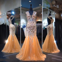 Shinning Heavy Beading Prom Dresses Sexy Open Back V Neck Cr...
