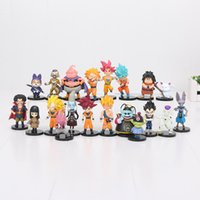 20pcs / lot 3.5-10cm Dragon Ball Z Figurines Fils Goku Super Saiyan Buu Pilaf Hercule Chat Karin PVC Chiffres Jouets