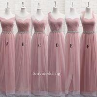 Blush rose tulle longue robe de demoiselle d'honneur à lacets de nouvelles robes de soirée de mariage 6 style commande mixte