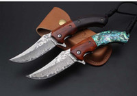 Queen bee Damascus knife VG10 Damascus steel blade Wood and ...