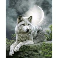 Wolf Moon DIY Diamond Painting Embroidery 5D Cross Stitch Cr...