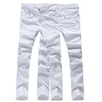 Venta al por mayor de calidad superior de color sólido hombres biker jeans pantalones de mezclilla overol pantalones ajustados 28-36 AYG74