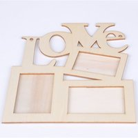 New Hollow Love Wooden Photo Frame White Base DIY Picture Fr...