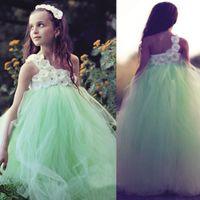 Vestidos de moda niña de las flores de menta verde edad 14 Un hombro de tul hechos a mano vestidos de desfile de flores para adolescentes Vestido de niña hermosa desfile
