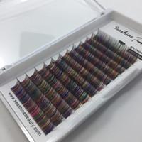 Seashine 12lines / tray farbige Volumen Wimpern Regenbogen Farbe Wimpern Faux Nerz individuelle Wimpernverlängerung Private Label