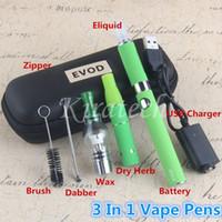 E- السجائر 3 في 1 أقلام Vape الشمع المبخر الجاف عشب وي المرذاذ MT3 eVod Ecig 3in1 سستة لحالة السجائر الإلكترونية vapes