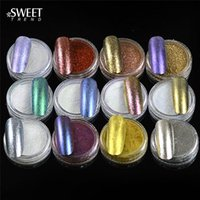 Wholesale- 12pcs set Shinning Mirror Effect Nail Glitter Powd...