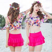 Yeni Stil Çiçek Push Up Bikini Seti Etek Kapak Ups Kadınlar Için Üç Adet Mayo Mayo Kız Mayo M-XL