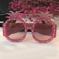 Femme Designer Lunettes de soleil surdimensionnées cloutées cloutées 0150S  0150 Monture en acétate rose avec motif ananas Lunettes de soleil marque  New with ... 3fc9038bb07e