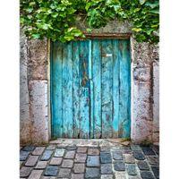 Mavi Boyalı Ahşap Kapı Fotoğraf Zemin Vinil Eski Taş Duvar Arka Plan Yeşil Yapraklar Çocuk Çocuklar Vintage Fotografik Arka