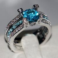 Choucong الأزياء والمجوهرات 925 فضة aquamarine الأحجار الكريمة جولة قطع جوهرة الزفاف النساء الاشتباك الزفاف البنصر حلقة مجموعة هدية