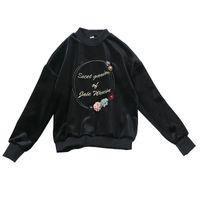 2017 neue Design Frauen Oansatz Langarm Stickerei Brief Blume Samt Warme Verdickung Pullover Sweatshirt Hoodies