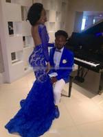 2019 bleu royal dentelle robes de soirée de bal pour fille noire sirène Bateau illusion manches longues robes de soirée robes de soirée arabes