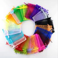 100 adet 7 * 9 cm Mini Organze Çanta Mix renk Hediye Çantası Takı Ambalaj Poşetleri Torbalar
