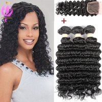 Malaysian Deep Wave with Closure Brazilian Virgin Hair 3 Bun...