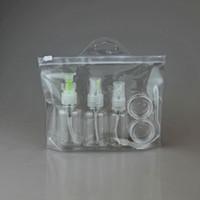 5 قطعة / المجموعة المحمولة السفر شامبو كريم غسول التجميل زجاجات إعادة الملء الخالي ضغط زجاجة عطر بخاخ الحاويات البلاستيكية