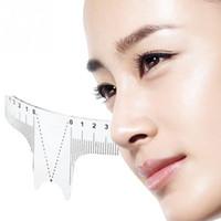 Cejas calientes stencil stencil shaper gobernante medida herramienta maquillaje reutilizable ceja regla de la regla medidas