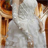 جديد وصول زهرة الدانتيل قفازات الزفاف أصابع طويلة مع أحجار الراين الإثارة